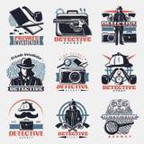 Détective Labels Set de vintage illustration stock