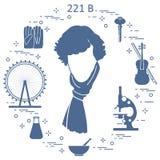 Détective privé Sherlock Holmes avec les outils et l'equipme de variété Images libres de droits