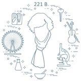 Détective privé Sherlock Holmes avec les outils et l'equipme de variété Illustration Stock