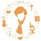 Détective privé Sherlock Holmes avec les outils et l'equipme de variété Illustration de Vecteur