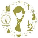 Détective privé Sherlock Holmes avec les outils et l'equipme de variété Illustration Libre de Droits