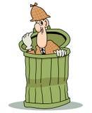 Détective se cachant dans la poubelle Images stock