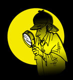 Détective Sherlock Holmes Cartoon Photo stock