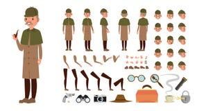 Détective Vector Ensemble technique animé de création de caractère Le fureteur, Shamus, observateur intégral, avant, côté, vue ar illustration stock