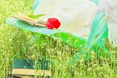 Détendez avec un jardin de livre au printemps Photo libre de droits