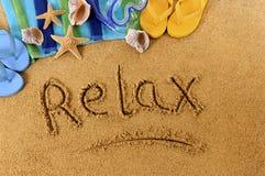 Détendez l'écriture de plage Images stock