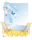 Détendez le fond d'été avec des fleurs et des plumes illustration libre de droits