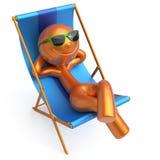 Détendez le refroidissement de personnage de dessin animé de sourire d'homme de chaise de plate-forme de plage illustration stock