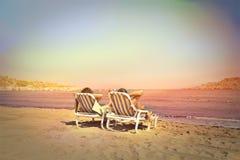 Détente à la plage Images libres de droits