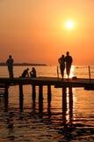 Détente de coucher du soleil. Photo stock