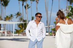 Détente des Caraïbes de couples de vacances Photographie stock