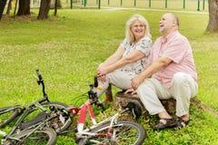 Détente pluse âgé heureuse de couples Photographie stock