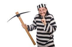 Détenu de prison avec la hache Image stock
