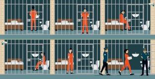 Détenus de prison illustration stock