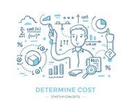 Déterminez le coût de démarrage illustration stock