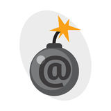 Détonation brûlante de boule de puissance d'attaque de grenade d'illustration de vecteur de fusible de dynamite de bombe Photos libres de droits