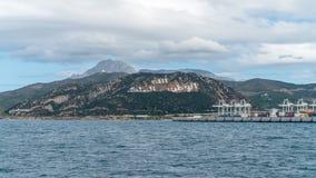 Détroit du Gibraltar et de l'Afrique du Nord comme vu du ferry photographie stock libre de droits
