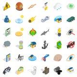 Détruisez les icônes de nature réglées, style isométrique illustration libre de droits