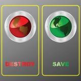 Détruisez ou sauvez la planète illustration de vecteur