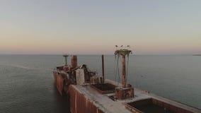 Détruisez sur la mer calme au lever de soleil banque de vidéos