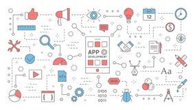 Développement d'appli pour le concept de téléphone portable illustration de vecteur