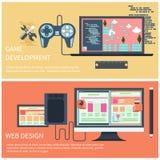 Développement de jeu et concept de web design Photos stock