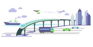 Développement de l'icône d'infrastructure de transport plate illustration libre de droits