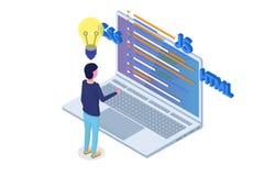 Développement de logiciel isométrique, programmeur au travail La grande informatique Photo libre de droits