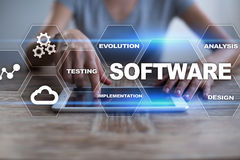 Développement de logiciels Concept de technologie du système de programmes de Digital de données Image stock