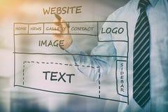 Développement de site Web de dessin de concepteur Photographie stock libre de droits