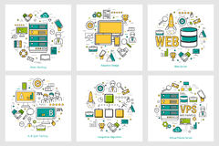 Développement de Web - concepts ronds linéaires illustration stock