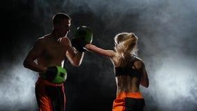 Développement des éruptions droites kickboxing sur des pattes de boxe Lumière par derrière Fumez le fond Mouvement lent banque de vidéos