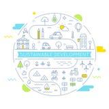 Développement durable et ligne vivante viable Art Vector Illustration de concept d'exécution illustration stock