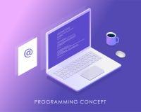 Développement et programmation de logiciel, code de programme sur l'écran d'ordinateur portable, lettre de revenu et une tasse de illustration stock