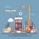 Développement mobile de Web d'application, concept de programmation futé du téléphone APP de cellules Photos libres de droits