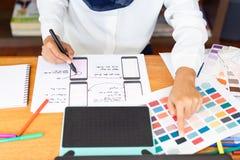 Développement sensible mobile de site Web de planification graphique créative de concepteur avec UI/UX photos libres de droits