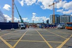 Développement sur le site de la vieille gare routière à Cardiff Image stock