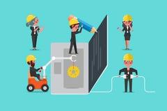 Développement Team Building, personnage de dessin animé de Web de conception de l'avant-projet Image libre de droits