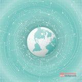 Développement technologique et communication Le point et la courbe ont construit le wireframe de sphère, illustration abstraite d illustration de vecteur