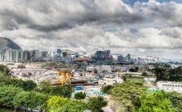 Développement urbain au vieux site de l'aéroport de Hong Kong Photos stock