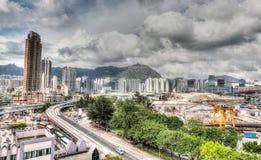 Développement urbain au vieux site de l'aéroport de Hong Kong Photo stock