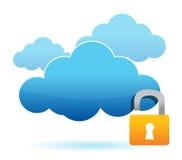 Déverrouillez le concept dangereux d'ordinateur de nuage Photo stock
