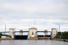 Déversoir de barrage sur la Volga Photo stock