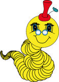 Dévoreur de livres jaune avec un sourire amical Image libre de droits
