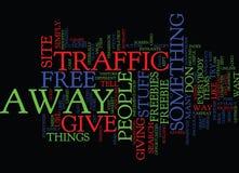 Dê afastado livre artigos para atrair o conceito da nuvem da palavra do tráfego Imagem de Stock Royalty Free