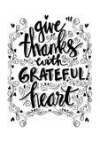 Dê agradecimentos com coração grato ilustração do vetor