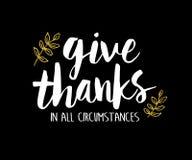 Dê agradecimentos em todas as circunstâncias imprimíveis Imagem de Stock