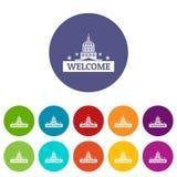 Dê boas-vindas à cor ajustada ícones do vetor dos EUA Imagens de Stock Royalty Free