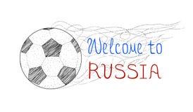 Dê boas-vindas a Rússia 2018 Vector os pontos, linhas silhueta de uma bola do futebol/futebol isolada no fundo branco ilustração stock