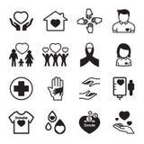 Dê e proteja os ícones ajustados Ilustração do Vetor